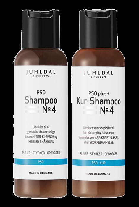 Juhldal PSO Kur-Shampoo No 4 plus+ og Juhldal PSO Shampoo No 4 mod hårbundsproblemer